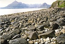 NG5113 : Elgol beach with The Cuillin in the distance by David Gearing