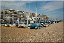 TQ7407 : Bexhill beach and Sailing Club building by Julian Osley
