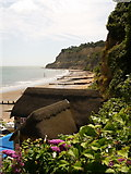 SZ5881 : Shanklin: thatched roof and beach view by Chris Downer