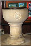 TG1508 : The church of SS Mary and Walstan in Bawburgh - font by Evelyn Simak