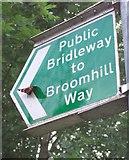 SX9066 : Butterfly on sign, Browns Bridge Road by Derek Harper