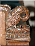 TL7388 : The church of St James in Wilton - C15 bench end by Evelyn Simak
