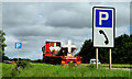 "J1547 : ""Parking"" signs near Banbridge by Albert Bridge"