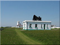 SS9168 : Nash Point - fog horns and old lighthouse by Gareth James