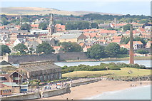 NU0052 : Sandsell chimney with Berwick in the background by Tom Brewis