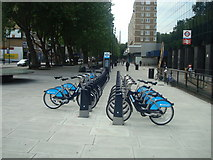 TQ3282 : Old Street docking station, London Cycle Hire Scheme by Stacey Harris