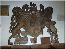 TM4160 : St Mary Magdalene , Friston: remarkable coat of arms (James I) by Basher Eyre