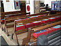 TM0980 : St Remigius, Roydon: kneelers and pews by Basher Eyre