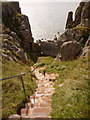 SR9692 : St. Govan's Head: steps to the chapel by Chris Downer