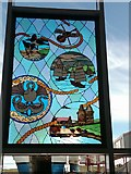 HU4642 : Stained glass window in the Holmsgarth Ferry terminal by Jim Strang