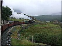 SH5752 : Double headed train approaching Rhyd Ddu by Richard Hoare