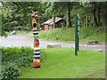 SN8586 : Cycle route milepost at Hafren Forest by Nigel Davies