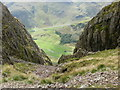 NY2706 : Scree slope down to Mickleden. by Peter S