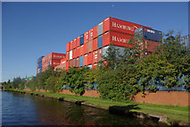 SJ7996 : Stacked containers at Trafford Park by Stephen McKay
