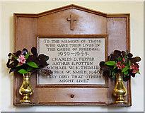 TR1439 : St Mary & St Radegund, Postling, Kent - War Memorial WWII by John Salmon