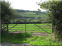 SS7610 : Gate into field above the River Dalch by Sarah Charlesworth