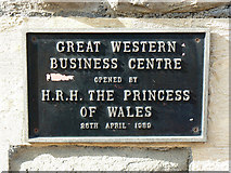 SU1484 : Plaque, Great Western Business Centre, Swindon by Brian Robert Marshall