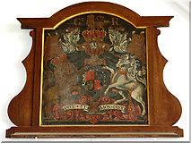 TM5286 : St Edmund's church in Kessingland - royal arms by Evelyn Simak