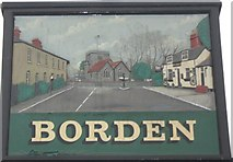 TQ8862 : Close-up of Borden Village Sign by David Anstiss