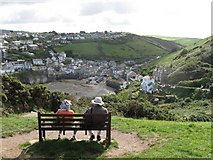 SW9980 : Admiring the view.  Port  Isaac,  Cornwall by Derek Voller