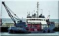 NX1898 : Dredging Girvan harbour by Albert Bridge
