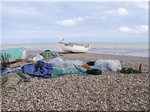 TQ6906 : Fishing tackle at Cooden Beach, East Sussex by nick macneill
