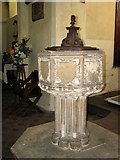 TG2209 : The church of St Augustine, Norwich - C15 font by Evelyn Simak