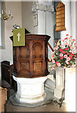 TF6415 : All Saints' church in North Runcton - the pulpit by Evelyn Simak