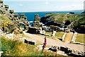 SX0589 : Tintagel Castle ruins (1989) by Graham Hogg