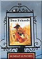 TG3211 : Two Friends public house, Blofield Heath - pub sign by Evelyn Simak