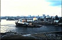 NJ9505 : Oil Supply vessel entering port, Aberdeen (1978) by Stanley Howe