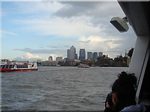 TQ3580 : View of Canary Wharf from the Thames by Robert Lamb