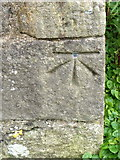 SD9772 : Bench Mark, St Mary's Church by Maigheach-gheal