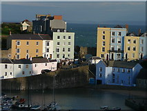 SN1300 : Evening sunlight Tenby Harbour by Colin Park