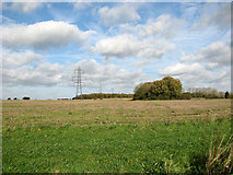 TM1585 : Electricity pylons in stubble field west of Tivetshall St Mary by Evelyn Simak