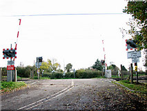 TM1585 : Level crossing west of Grove Farm, Gissing by Evelyn Simak