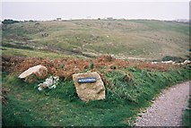 SW3526 : Footpath sign in Vellan Dreath Valley, Sennen, Cornwall by Trionon