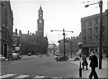 SE1633 : Bradford city centre on a Sunday in 1957: Broadway, towards City Hall, from Bridge Street by Ben Brooksbank