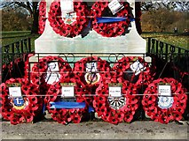 SP2871 : Wreaths on the War Memorial by John Brightley