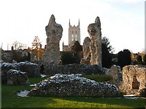 TL8564 : Bury St. Edmunds: cathedral tower and abbey ruins by Chris Downer