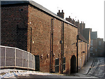 SK7953 : Newark: Mill Lane from the bridge by John Sutton