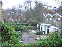 TQ3370 : Reynard Close and the back gardens of houses on Fox Hill by Christopher Hilton