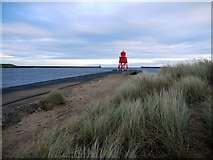 NZ3668 : Herd Groyne Lighthouse, South Shields by Andrew Curtis