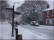 SP2871 : Snow falling on Abbey Hill by John Brightley