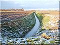 TF5418 : Frozen dike, Bullock Road, Hay Green, Norfolk by Richard Humphrey