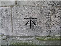 SK6592 : Bawtry, cut bench mark on St Nicholas' church by Brian Westlake