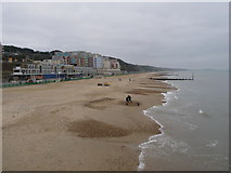 SZ1191 : Boscombe: the beach at New Year by Chris Downer