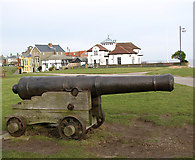TM5075 : 17th century cannon on Gun  Hill, Southwold by Evelyn Simak
