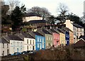 SN6222 : Colourful houses above Llandeilo bridge by Flying Stag