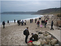 SW3526 : New Year's Day 2011 on Sennen beach by Rod Allday